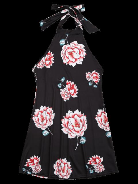 shop Halter Floral Open Back Dress - BLACK L Mobile