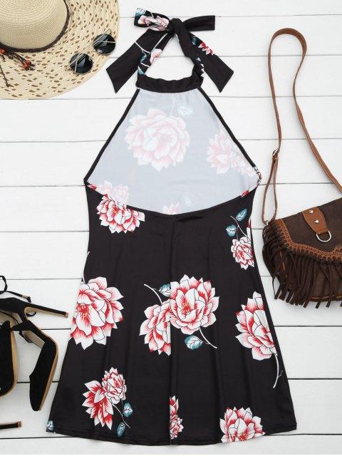 shops Halter Floral Open Back Dress - BLACK XL Mobile