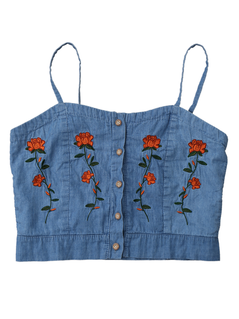 buy Cami Floral Embroidered Denim Crop Top - ICE BLUE L Mobile