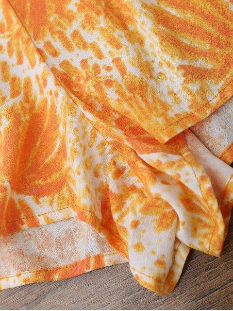 women's Printed Flare Sleeve Off Shoulder Beach Romper - ORANGE L Mobile