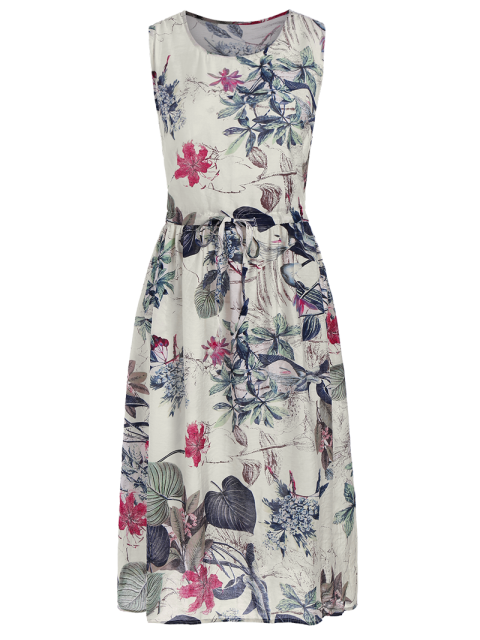 chic Sleeveless Drawstring Floral Midi Dress - FLORAL ONE SIZE Mobile