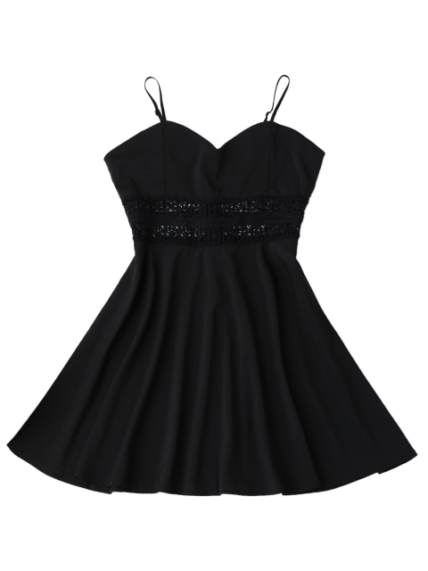 hot Cami Crochet Trim Skater Sun Dress - BLACK XL Mobile