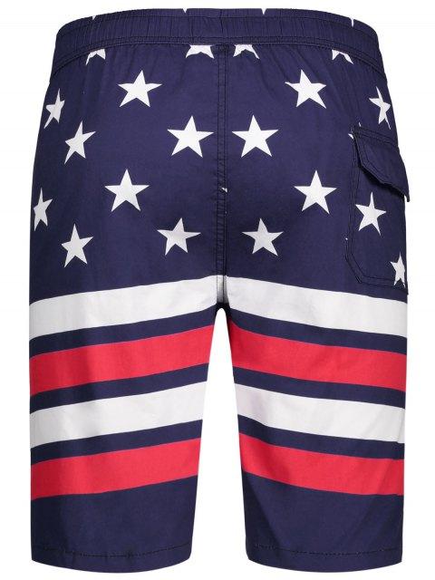 lady Star and Stripe Printed Drawstring Board Shorts - PURPLISH BLUE 2XL Mobile