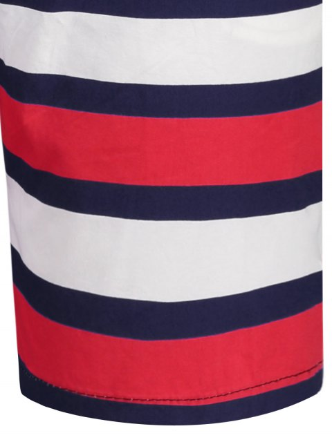 best Star and Stripe Printed Drawstring Board Shorts - PURPLISH BLUE XL Mobile