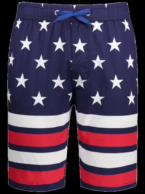 online Star and Stripe Printed Drawstring Board Shorts - PURPLISH BLUE L Mobile