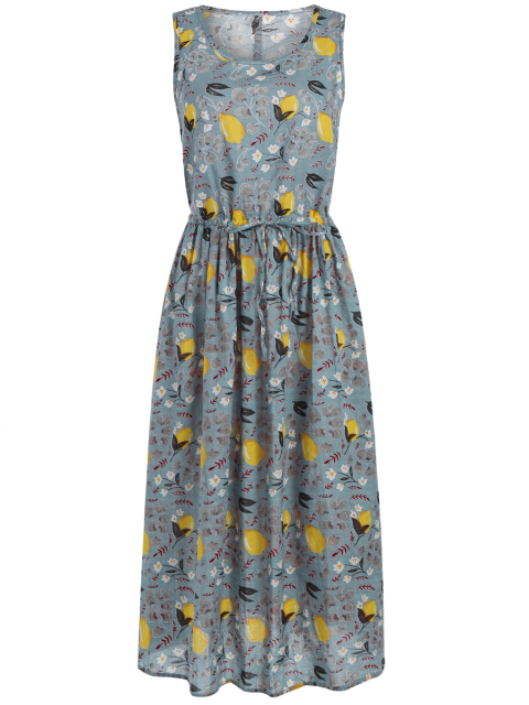 buy Sleeveless Drawstring Lemon Print Maxi Dress - COLORMIX ONE SIZE Mobile