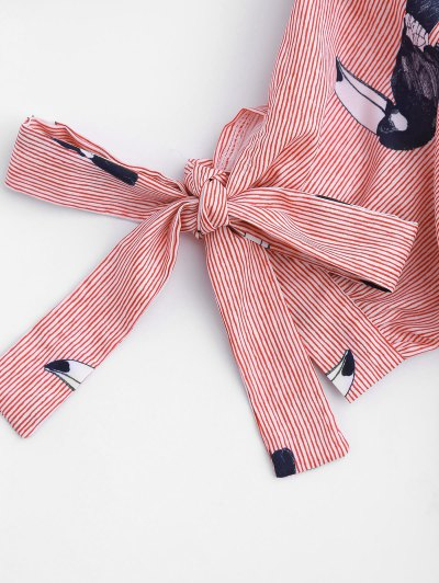 Striped Bird Graphic Bowknot Top от Zaful.com INT