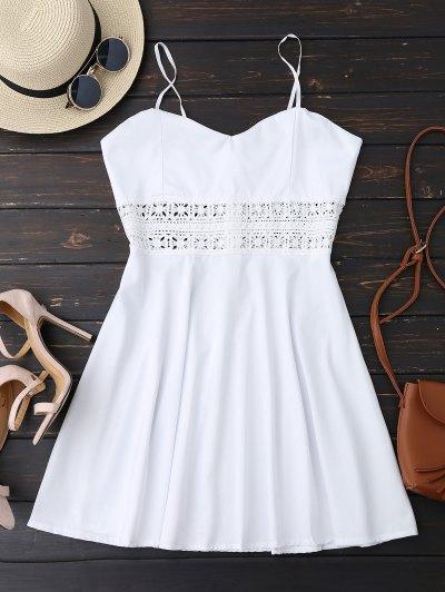 كامي الكروشيه تريم متزلج فستان الشمس - أبيض M