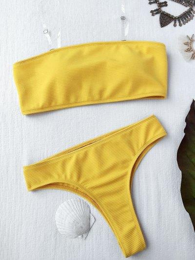 Ensemble De Bikini En Croûte à Haute Jambe Texturée - Jaune S