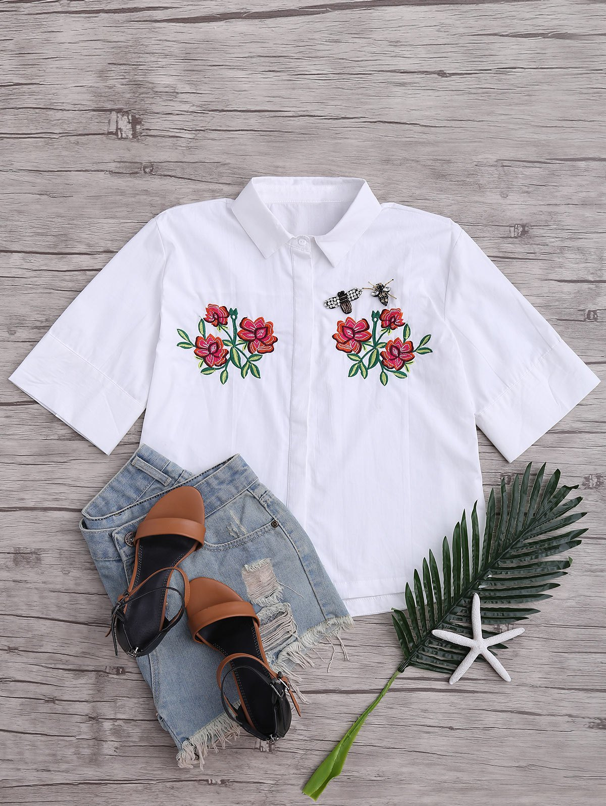 Beading Patched Floral Embroidered Top, White