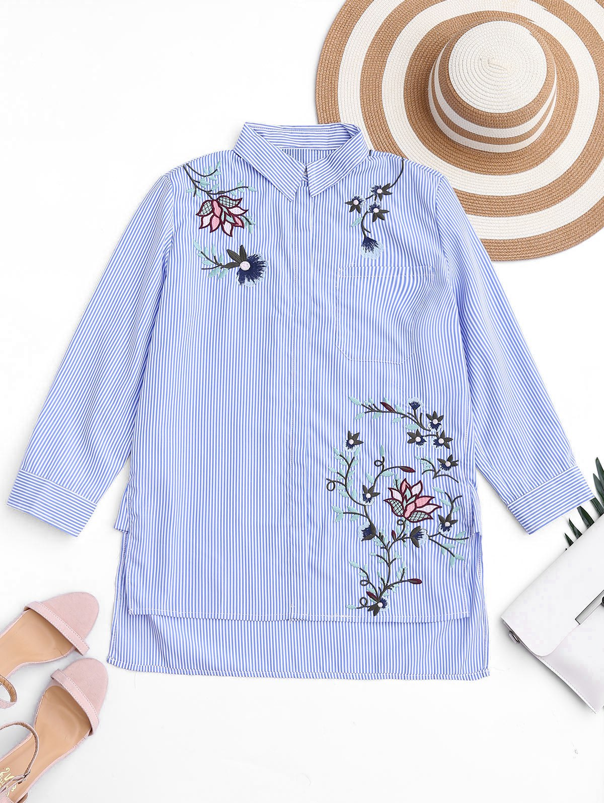 Embroidered Stripes High Low Shirt 215252601