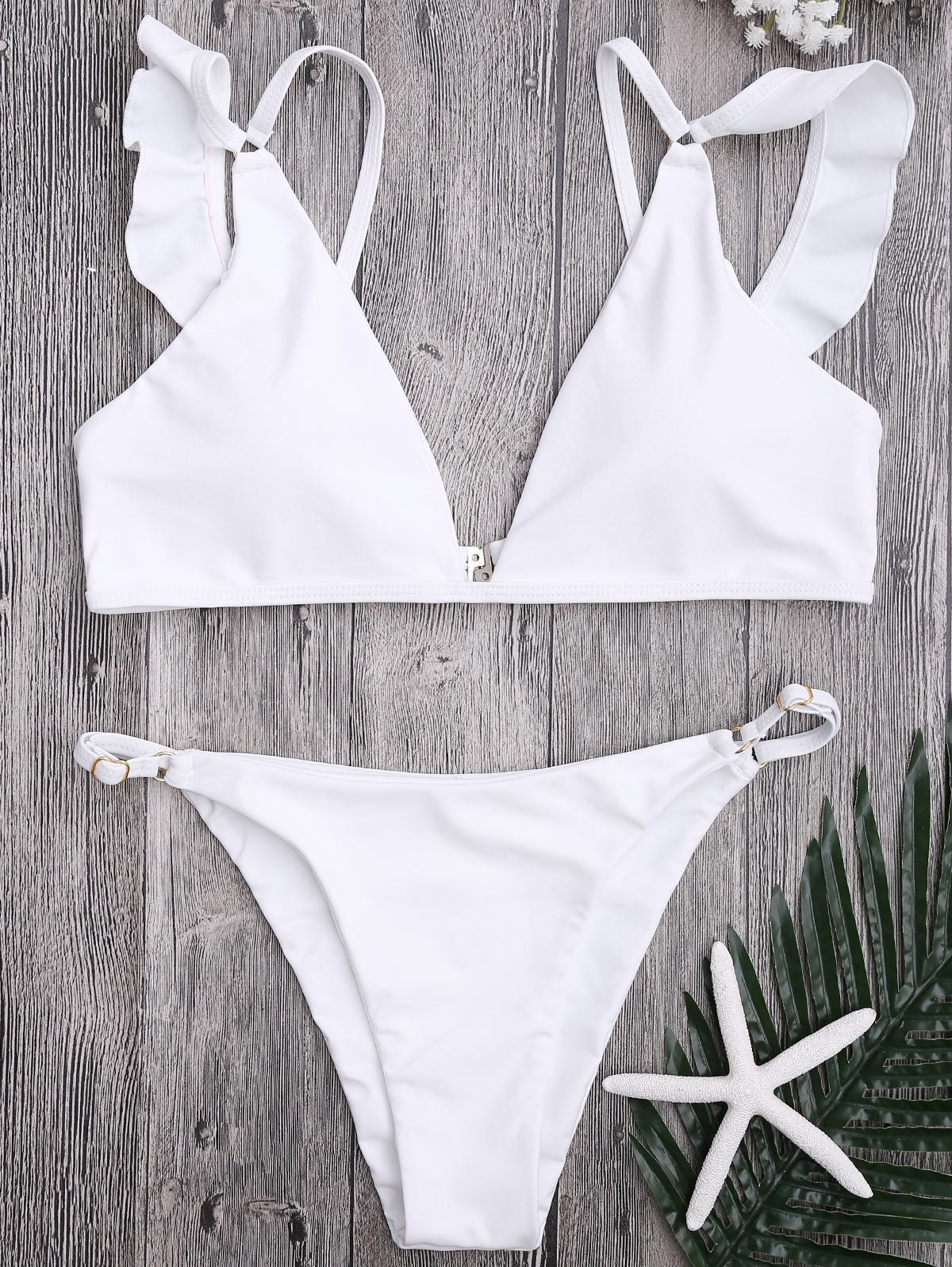 Plunge Adjustable String Bikini Set, White