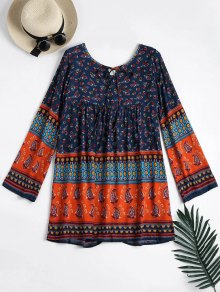Long Sleeve Tribal Print Tunic Dress - Blue Xl