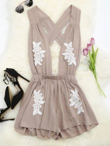 Halter Floral Patched Open Back Romper