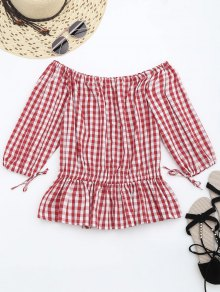Off The Shoulder Ruffle Checked Blouse