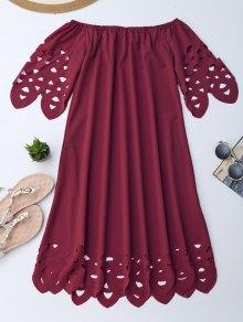 Off The Shoulder Flared Dress - Burgundy Xl