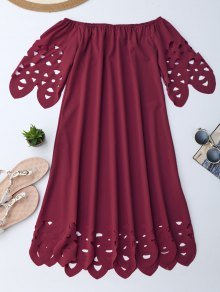 Off The Shoulder Flared Dress - Burgundy L