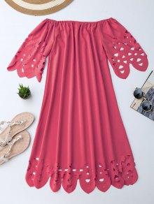 Vestido De Encaje Con Vuelo Con Hombros Al Aire - Rojo L