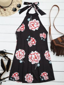 Halter Floral Open Back Dress - Black S