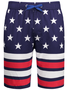 Star and Stripe Printed Drawstring Board Shorts
