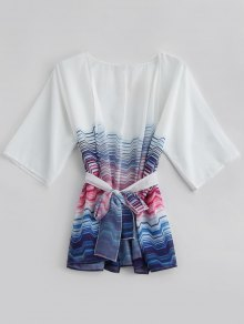 Striped Kimono Beach Cover Up