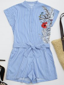 Striped Graphic Belted Romper With Pockets