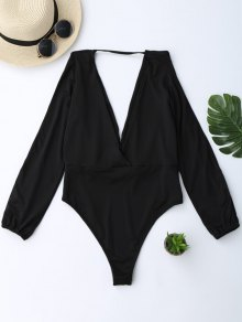 Plunging Neck Split Sleeve Bodysuit - Black S