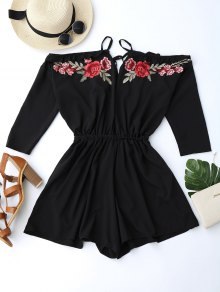 Floral Applique Cold Shoulder Romper