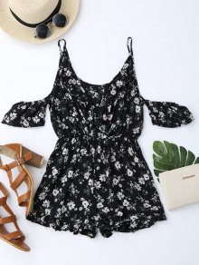 Cold Shoulder Ruffle Cami Floral Romper - Black S