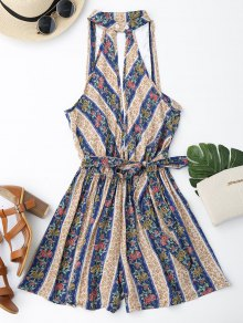 Mixed Print Boho Plunge Romper - Floral L