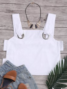 Loose Hollow Out Tank Top Con Anillos De Metal - Blanco M