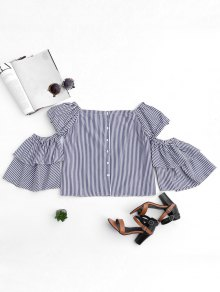Cut Out Sleeve Off Shoulder Stripes Top