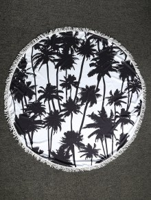 Palm Tree Round Beach Throw - White And Black