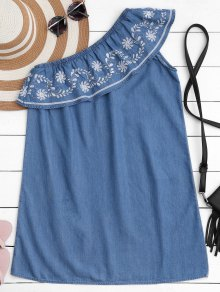 Embroidered Ruffles One Shoulder Casual Dress - Denim Blue S