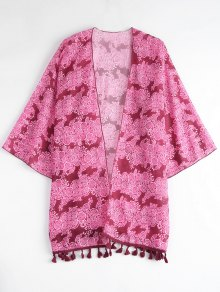Tasselled Chiffon Kimono Beach Cover Up - Rose