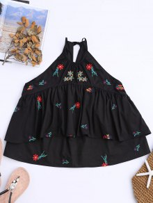 Sleeveless Layered Floral Embroidered Top - Black L