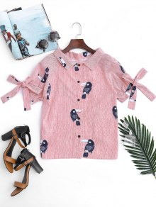 Striped Bird Graphic Bowknot Top