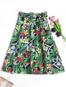 Floral Bowknot Midi A-Line Skirt