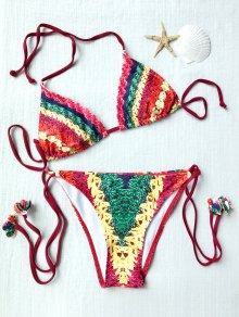 Stripe Print High Leg Bikini Set