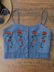Cami Floral Embroidered Denim Crop Top
