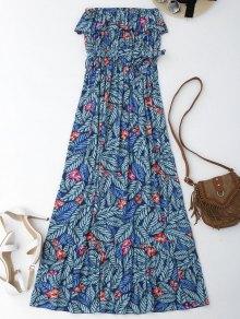 Leaf Print Off Shoulder Maxi Cover Up Dress