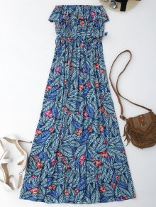 Leaf Print Off Shoulder Maxi Cover Up Dress