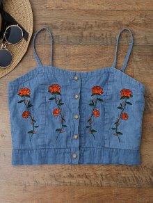 Cami Floral Embroidered Denim Crop Top