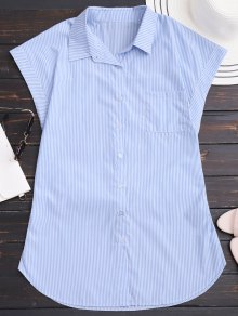 Striped Bowknot Mini Shirt Dress