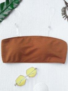 Textured Bandeau Bikini Top - Brown S