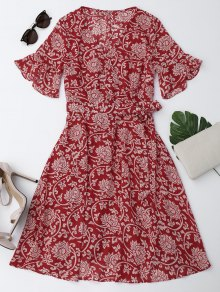 Bell Sleeve Chiffon Floral Self Tie Dress - Red S
