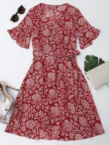 Vestido Floral De Gasa Con Lazo Con Manga En Forma De Campanilla - Rojo Xl