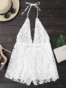 Crochet Plunge Backless Halter Romper - White S