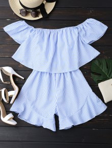 Ruffle Striped Off The Shoulder Romper