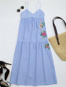 Embroidered Cami Tiered Midi Dress - Stripe S